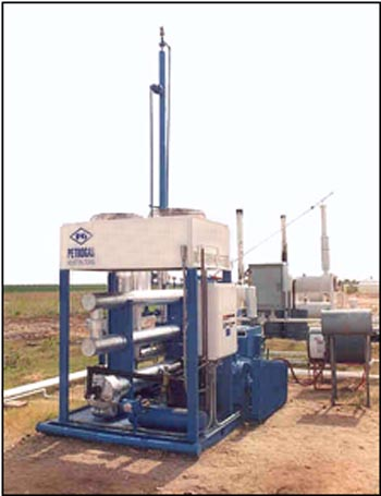 Gas processing and refrigeration unit used int he processing of natural gas and oil.