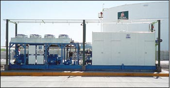 Vapor recovery refrigeration system used during gas processing.